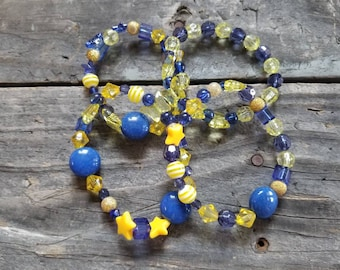 Blue and Yellow Awareness Bracelet Down Syndrome Trisomy 21~Free Shipping