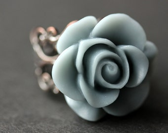 Gray Blue Rose Ring. Blue Grey Flower Ring. Gold Ring. Silver Ring. Bronze Ring. Copper Ring. Adjustable Ring. Handmade Jewelry.