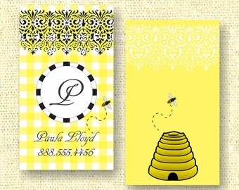 Yellow Gingham Bee Calling Card / Custom Business Card / Mommy Card / Earring Card