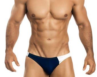 Navy & White Asymetrical Swim Bikini for Men by Vuthy Sim   15-1