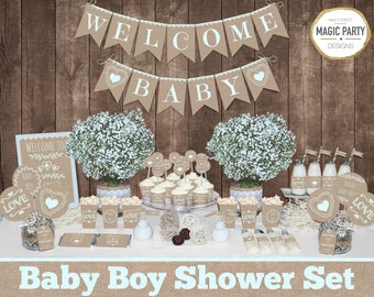 Rustic Baby shower decorations printable, Boy baby shower decorations, Woodland baby shower, burlap baby shower, natural baby shower