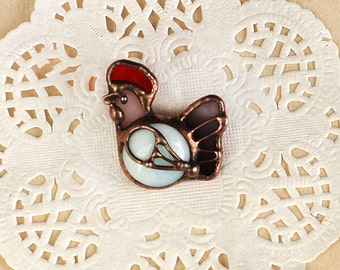 Rooster brooch stained glass,Chicken jewellery,farm love,cockerel pin,Bird glass jewelry,Coworker Gift,daughter gift mom,rooster figurine