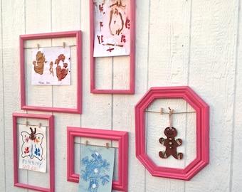 Pink Art Wall Frames / Children's Art Gallery Frames / 5 Wooden Open-Empty Frames / Large Frames for Kids Art Wall