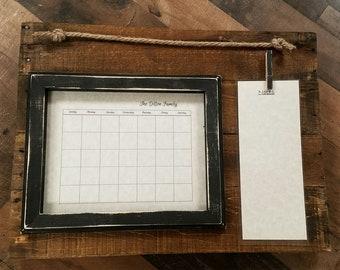 Dry erase calendar, rustic calendar, family organizer,  schedule keeping,