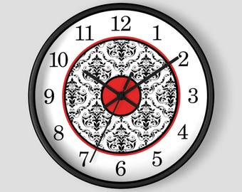 Red Damask Wall Clock - Black White Damask with Red Accents - 10-inch Round Clock - Made to Order