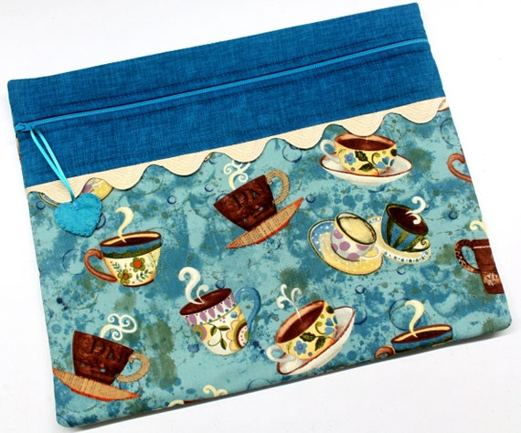 Teal Cuppa Cross Stitch Embroidery Project Bag