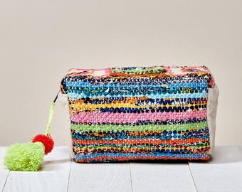 Boho Chic Makeup Bag | Rainbow Bohemian Case with Tassel & Pom Pom | Rag Rug Make Up Organizer