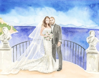 Custom Family Portrait - Watercolor Sketch,Children Illustration, Couple Portrait, Wedding Illustration, Bride Groom, Painting Drawing, art