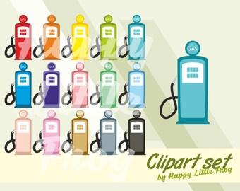 Retro gas pumps clipart, gasoline clipart, fuel clipart, planner cliparts, car fuel print, gas pump printable stickers, gas pump graphic