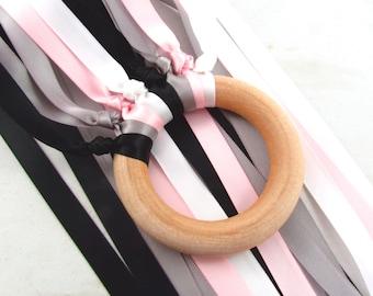 Grey Black Pink Monochrome ribbon wood hand kite - Monochrome Pink Satin Nursery Decor - Pink Grey Black Waldorf Wind Wand handkite