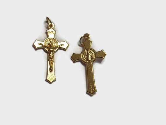 Saint Benedict Medal Crucifix Or Pendant - Gold plated - with or without necklace - Powerful Sacramental