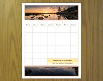 Printable perpetual calendar, Scenic calendar, Write on inspirational calendar planner, Budget, Monthly Full page, Half page, Stream, Sunset