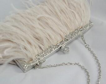 Champagne Clutch, Ostrich Feather Bridal Clutch, Champagne Wedding Handbag, Bridal Clutch, Champagne Bridesmaid, Great Gatsby Theme Flapper