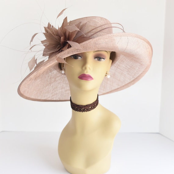 L17 New Kentucky Derby, Church, Wedding, Easter, Tea Party Wide Brim With Feather Flower Sinamay Hat ( Taupe ) by Etsy