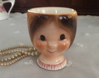 Vintage Figural Lady's Head Chalkware Egg Cup