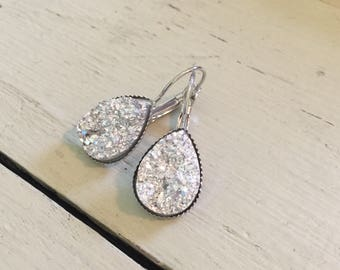 Silver teardrop druzy earrings-great for special occasions!