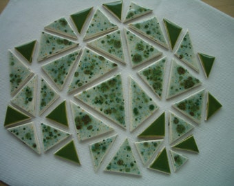 L38 - 38-pc CRYSTAL Glazed TRIANGLES - Ceramic Mosaic Tile Set