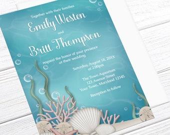 Under the Sea Wedding Invitations - Whimsical Underwater design - Aquarium Wedding - Aqua Blue and Beige - Printed Under the Sea Invitations