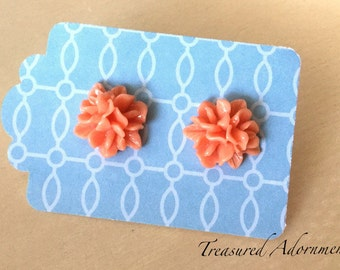 Salmon Pink  Flower Stud Earrings, Coral Flower Earrings, Bridesmaids Earrings, Thank you gift,  Holiday Gift Present, Stocking Stuffer