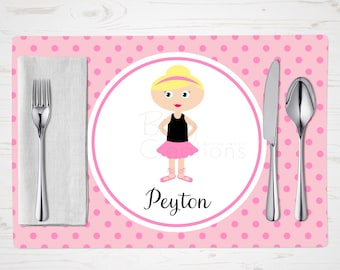 Children's Placemat - Ballerina 3 Placemat - Personalized with Child's Name - Custom Placemat - Dancer Placemat - Blonde Girl
