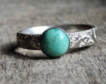 Genuine Turquoise & Sterling Silver Floral Fern Ring, Stacking Ring Band, 6mm Bezel Setting, Boho, Size 5, Ready to Ship