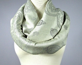 Ivory Scarf - pashmina scarf - pashmina infinity scarf - silver scarf