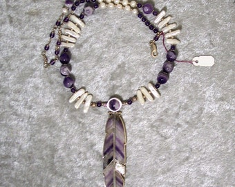 INTUITION'S INNOCENCE - OOAK Reversible Feather Necklace in Chevron Amethyst, Fresh Water Pearl, Amethyst, and Sterling Silver