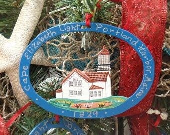 Cape Elizabeth Lighthouse Ornament - Metal -Handpainted -Folkart- Ready to go gift
