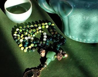 108 Mala Necklace, BoHo Beads,  Green Aventurine Barrel Guru Bead, Handknotted,Yoga Mala, Meditation Beads