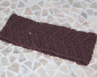 Womens Brown Chevron Headband-Crocheted Soft Washable Wool Ear Warmer