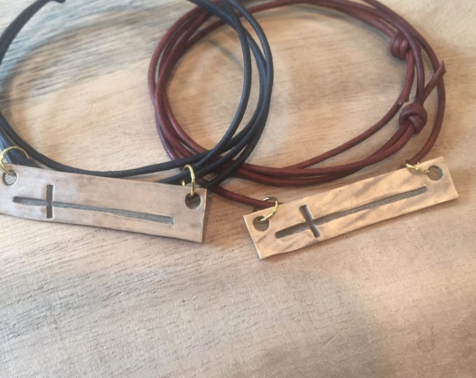 Cross on Leather, Catholic Jewelry, Religious Metals, Side Cross, Bronze Cross, Brushed gold cross