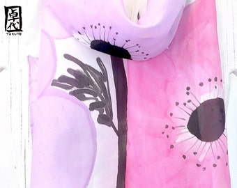 Silk scarves for women, Hand Painted, Silk Scarf, Pink Silk Scarf, Pink and Purple, Floral Silk Scarf, Japanese Anemone, Made to order