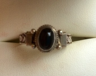 Black Onyx & Sterling Silver Ring, Size 8-1/2