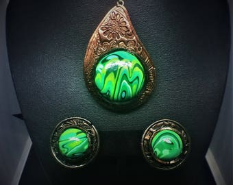 Faux Malachite Copper Paisley Polymer Clay Jewelry Set Earrings and Necklace