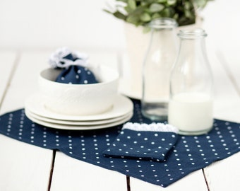 Blue Polka dot placemats - Blue placemats - Linen placemats -  Navy blue placemats set of 4 - Navy place mats - Easter table decoration