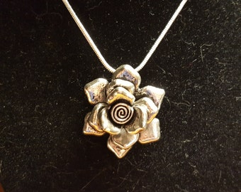 Sterling Silver Rose Pendant on a Adjustable Snake Chain