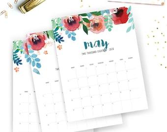 Printable 2018 Monthly Calendar - Printable Calendar - Watercolor floral Planner - Wild Flower Printable - Instant Download - Print at home