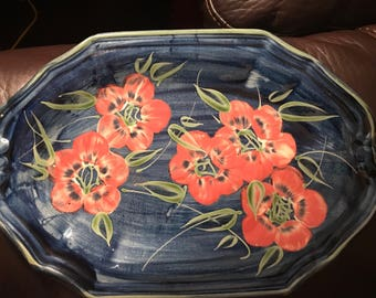 Hand Painted Platter Blue with flowers