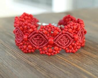 Micro-Macrame Cuff Bracelet. Modern Macrame. Beaded Cuff. Red Cuff Bracelet. Red Macrame Cuff. Statement Jewelry. Boutique Fashion Piece.