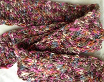 Multicolor Wool Handknit Scarf. Warm Winter Scarf, Great Gift.  One of a Kind.