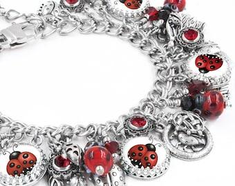 Ladybug Charm Bracelet, Ladybug Bracelet, Ladybug Charm Jewelry, Lucky Ladybug Jewelry, Lady Bug Jewellery