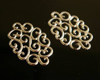 10  - Fancy oval filigree connector, pendant drop, Link