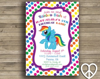 Rainbow Dash 5x7 Printable Birthday Invitation