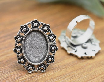 Ring Blanks -5pcs Antique Silver Adjustable Cabochon Ring Base Setting 13x18mm Free Matching Glass Cabochons M307-5