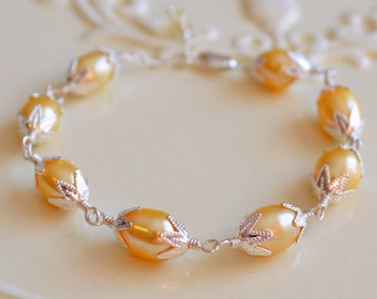 Easter Egg Jewelry, Yellow Freshwater Pearl Bracelet, Girls Child Children, Wire Wrapped, Sterling Silver