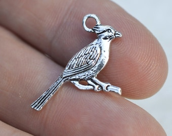 10 Charms, Cardinal Charms, #CH316,  Antique Silver Charms, Bluejay Charms, Alloy Metal Charms, Silver Bird Charms, Silver Cardinal Charm