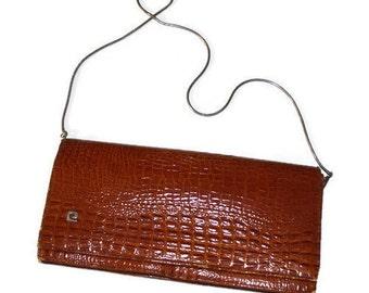Vintage Piere Cardin leather clutch Brown Crocodile stamp bag Mock Croc MESSENGER Bag Evening Shoulder Bag Purse Designer french couture bag