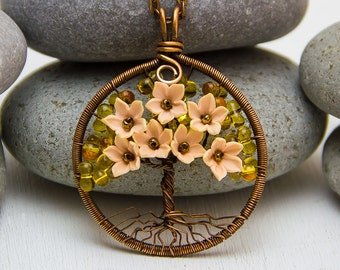 Mother's Day gift Tree-Of-Life Necklace Copper Wire Pendant Copper Jewelry Wire Wrapped Family Tree Chips Rustic Gift for woman Gift for mom