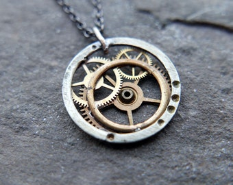 """Watch Gear Necklace """"Celaeno"""" Pendant Recycled Mechanical Watch Parts Intricate Sculpture Wearable Art Steampunk Assembly Gershenson"""