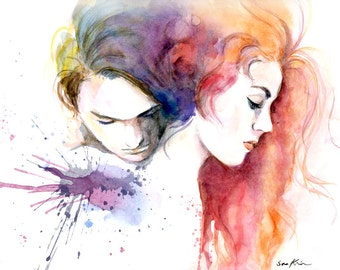 Watercolor painting - Lovers - Titanic Movie poster inspired